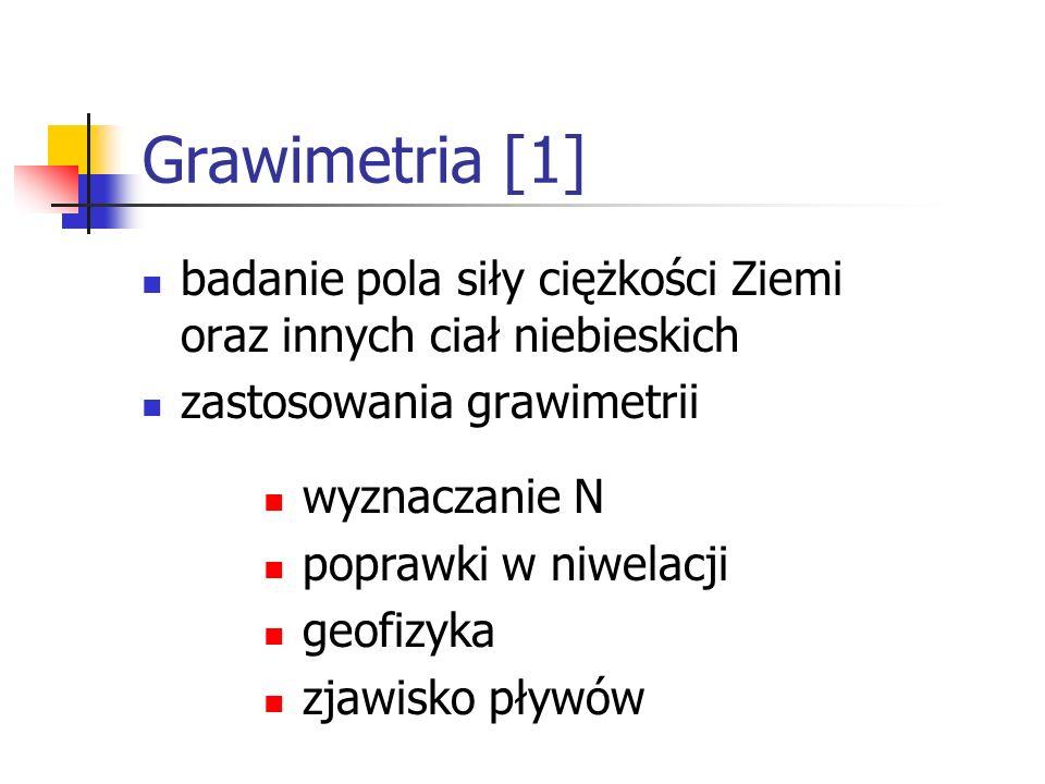 Grawimetria [1]badanie pola siły ciężkości Ziemi oraz innych ciał niebieskich. zastosowania grawimetrii.